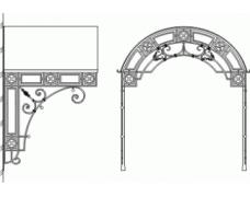 Кованый козырек над входом в виде арки,с полукруглым профилем крыши