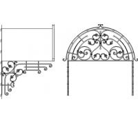 Кованый козырек над входом с фигурным фасадом в виде арки с полукруглым профилем крыши